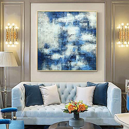 wZUN Paisaje Abstracto Azul y Blanco Pintura al óleo Lienzo Arte de la Pared Pintura Sala de Estar decoración del hogar 60x60 Sin Marco