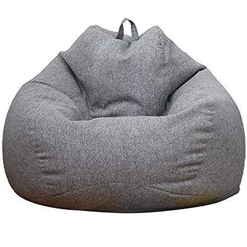 JSONA Sitzsackbezug Stuhl Sofabezug, Lazy Lounger Sitzsackbezug mit hoher Rückenlehne oder Erwachsene und Kinder ohne Füllung, grau, 90 * 100 cm
