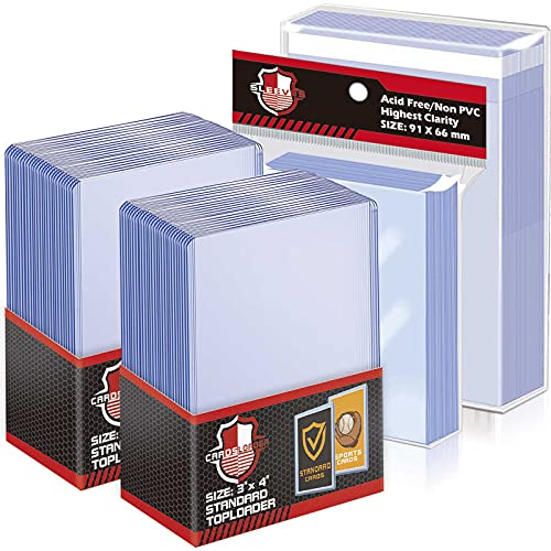 50 Counts Top Loaders Trading Card Sleeves, Penny Sleeves Thick Plastic Toploaders, Trading Card Sleeves Holder Fit for Baseball MTG, Yugioh Card (Include 50 Thick Sleeves & 200 Soft Sleeves)
