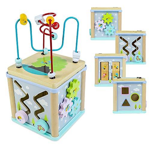 Fajiabao Juguetes de Madera Cubo Actividades Bebe-5 in 1 Centro de Actividades con Laberintos para Niños Juguetes Montessori Educativos Regalo Niños Niñas 3 4 Años