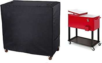 QEES Patio Cooler Cart Cover, Universal Outdoor Waterproof Protective Cover Fit for Most 80-100 QT Rolling Cooler for Beverage Cart, Rolling Ice Chest, Party Cooler LYCZ01