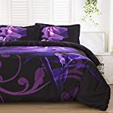 Purple Comforter Set Queen Reversible Purple Rose Pattern Printed Bedding Down Comforter with 2 Pillowcases for All Seasons, Soft Microfiber Filling Bedding Duvet Set 90'x90'