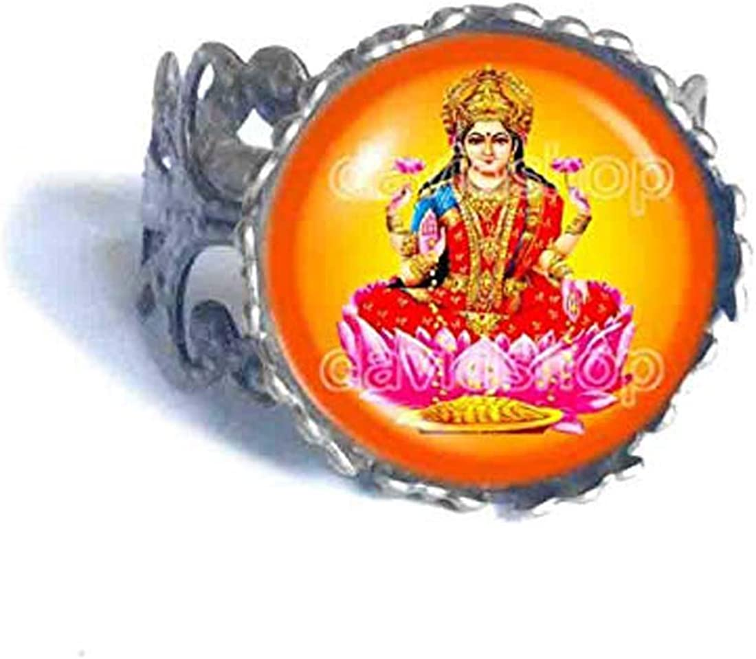 Handmade Fashion Jewelry Lakshmi Ring Hindu Gods Goddesses Om Cosplay Art Symbol Cute