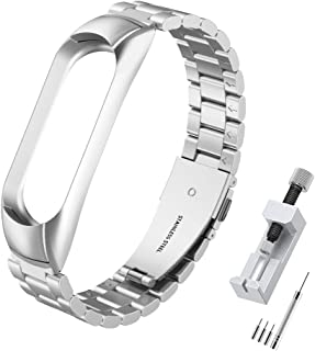 Simpeak Stainless Steel Bands Compatible with Xiaomi Mi Band 5 Mi Band 6 Smartwatch Wristbands Sport Band Accessaries Stra...
