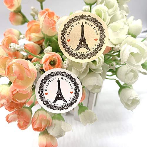 BLOUR vintage handgemaakt met liefde Eiffeltoren papieren sticker scrapbooking voor vakantie decoratie stickers 100 stuks/Lot