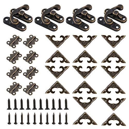 4 juegos de ganchos antiguos con 8 bisagras en forma de mariposa, para decoración de cajas de joyería con tornillos