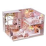 Walmeck- DIY Miniatur Loft Puppenhaus Kit Realistische Mini 3D Rosa Holzhaus Zimmer Spielzeug mit...