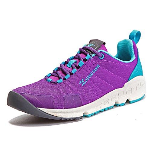 XIANG GUAN Femme Léger Lace Up Basses Respirant Multisport Chaussures de Course Marche Jogging Outdoor Sneakers (EU 38, Violet)