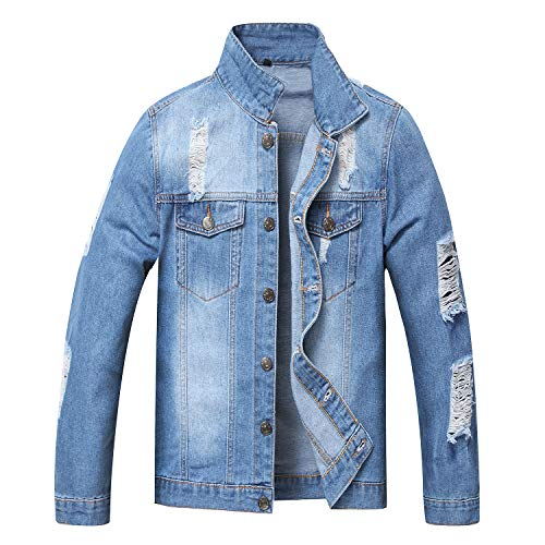 JYHER Men's Denim Jacket,Classic Ripped Slim Jean Coat Jacket with Holes