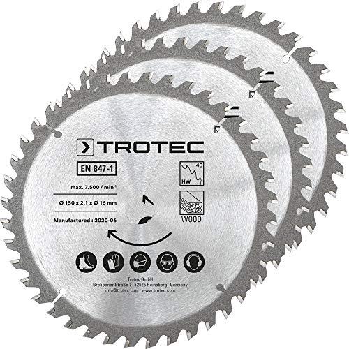 TROTEC Holzkreissägeblätter-Set Ø 150 mm (40 Zähne), 3-teilig Kreissäge Zubehör Sägeblätter sägen Zuschnitte Fußleiste Wandpaneele