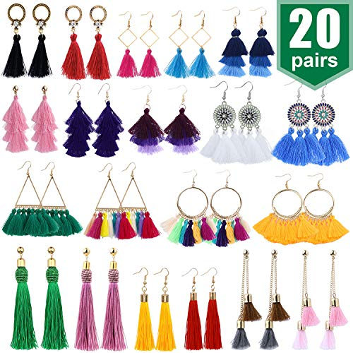 20 Pairs Tassel Earrings with Colorful Tassel Long Layered Dangle Hoop Tiered Thread Earrings Set for Women Girls Jewelry Fashion and Valentine Birthday Party Gift