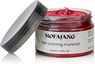 MOFAJANG Unisex Hair Wax Dye Styling Cream Mud, Upgrated Natural Hairstyle Color Pomade, Washable Temporary,Party Cosplay Daily Use (Red)