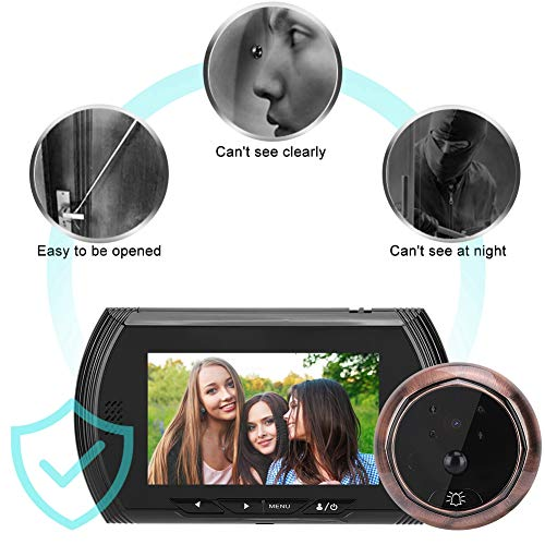 ASHATA videodeurbel 4,3 inch HD scherm Smart Door Viewer camera video-deurbel met PIR-bewegingsdetectie, video-deurbel 1,3 MP bewakingscamera voor deurdikte 40 – 110 mm