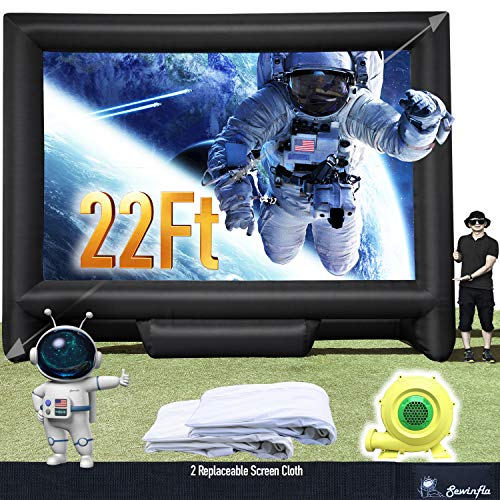 22Ft Outdoor and Indoor Inflatable Movie Projector Screen with Blower, Supports Front and Rear Projection, Blow Up Mega Movie Screen for Party, Easy to Set Up