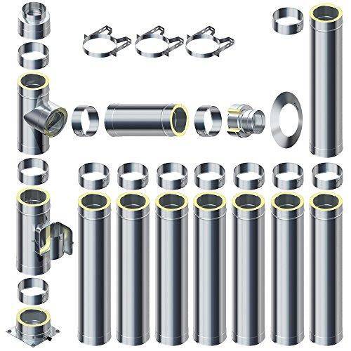 Raab Edelstahl Schornstein 0,5mm DW 180 V4A Set 25 mm Isolierung 9,7 m