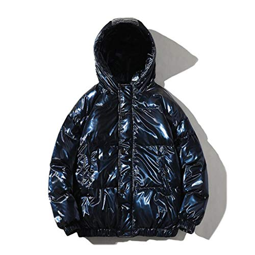 ZSYDS Plata de algodón Acolchado Hombres de Brillante Espesado Acolchada Suelta por la Chaqueta Acolchada (Color : Royal Blue, Size : 3XL)
