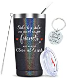 Side by Side or Miles Apart,Friends are Always Close at Heart-Long Distance Friendship Birthday Christmas Gifts for Women Best Friend Stainless Steel Insulated Friends Cup 20oz Glitter charcoal