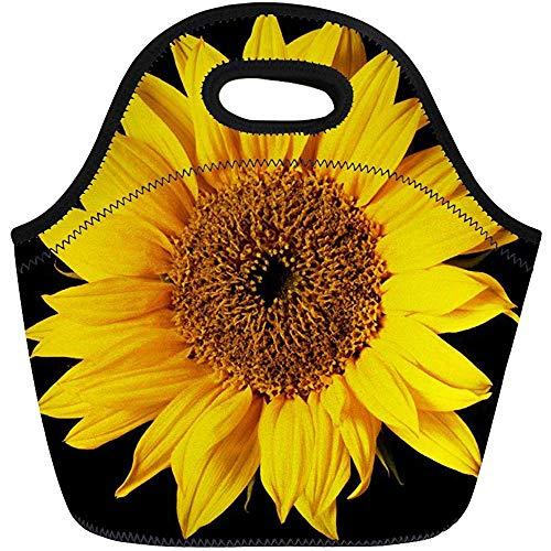 Lunch Tassen Sjablonen Zonnebloem Geel Op Zwart Aangepaste Zon Bloem Neopreen Lunch Bag Lunchbox Tote Bag Draagbare Picknick Bag Koeltas