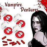 ADIUMA Dientes de Vampiro Colmillos Dentaduras con cápsulas de Sangre Accesorios de Cosplay de Halloween para favores de Fiesta de Disfraces de Halloween