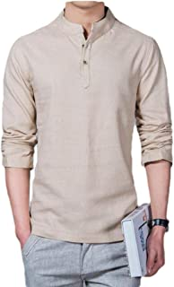 Howely Mens Pure Colour Plus Size Long-Sleeve Linen Baggy Western Shirt
