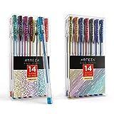 Arteza Glitter and Metallic Gel Pens Bundle, Drawing Art Supplies for Artist, Hobby Painters & Beginners