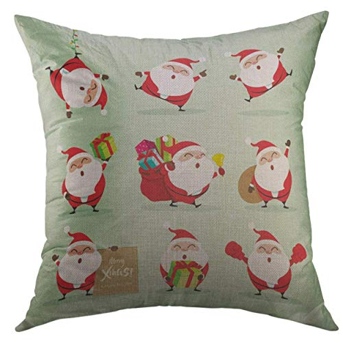Modern Throw Pillow Cover 18 X 18 Inch Cute Collection of Christmas Santa Claus 2 Merry Halloween Day Throw Pillows Linen Fade Stain Resistant for Toddler-Boys Toddlers Home Unisex-Children
