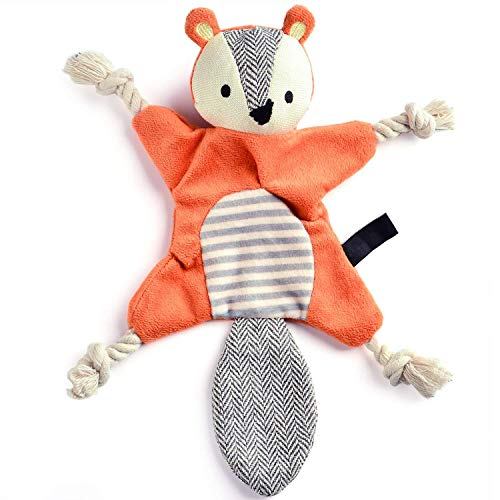 Vitscan Stuffless Dog Toys for Puppy, Crinkle Squeaky Dog Chew Toys Squirrel Plush Dog Toy with Rope Knots for Small Dogs (Squirrel)