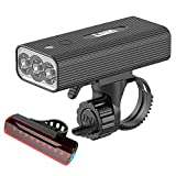 [2021 Newest] Lsan USB Rechargeable Bike Light,1200 Lumens Super Bright Bicycle Light,Bike Headlight and Taillight,Power Bank Function,3+5 Light Modes,Fits All Bicycles