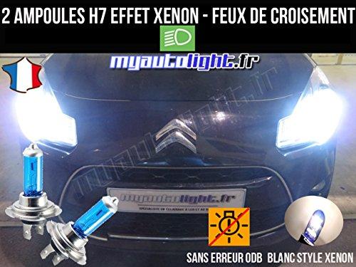 MyAutoLight- Pack ampoules H7 blanc xenon feux croisement-code pour C3