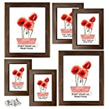 Schliersee Variety Picture Frames Assorted Sizes, Wall Collage 6 Pack Brown Frames, for Multiple Different Various Sizes Photos, Two 4x6, Two 5x7, Two 8x10