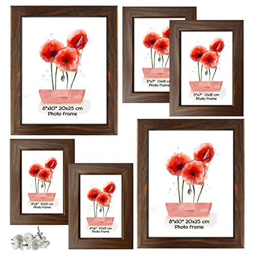 Schliersee 6 Pack Multi Picture Frames Collage Brown Rustic Frames for Multiple Photos, Two 4x6 Picture Frames, Two 5x7 Picture Frames, Two 8x10 Picture Frames, Brown