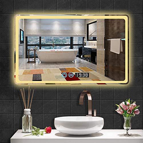 AYYEBO Espejo Pared Baño LED Luces Blancas/Cálidas Regulables Anti Niebla Espejo Tocador Maquillaje Impermeable Visualización Hora Rectangular (Size : 70x90cm)