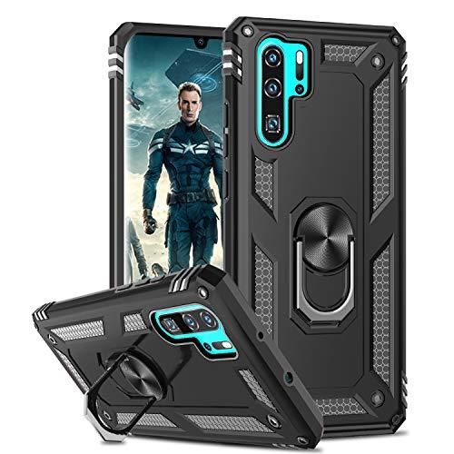LeYi per Cover Huawei P30 Pro/P30 PRO New Edition,Custodia 360° Girevole Regolabile Ring Armor Bumper TPU Case Magnetica Supporto Smartphone Silicone Custodie Nero