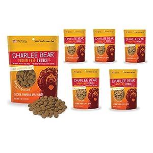 Charlee Bear Crunch Chicken, Pumpkin & Apple Flavor Dog Treat and Snack (6 Pack) 8 oz Each