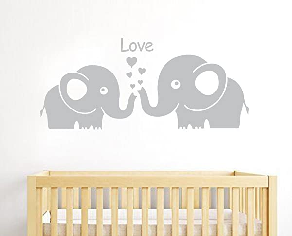 MAFENT Cute Elephant Family With Love Hearts Wall Decals Baby Nursery Decor Kids Room Wall Stickers Small Grey