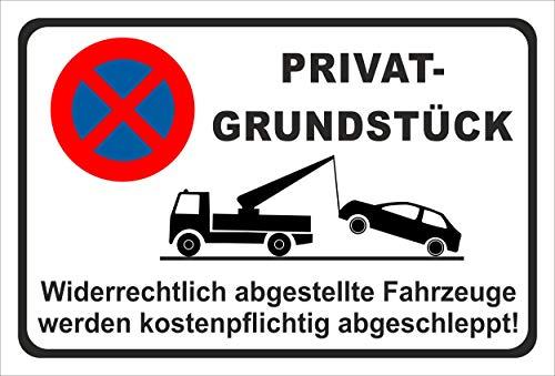 KE-Partyzubehör Schild 15x10cm Parken verboten - Privat-Grundstück - 3mm Hartschaum - 20 Varianten