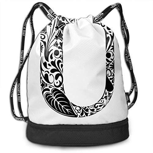 DDHHFJ Multifunctional Drawstring Backpack for Men & Women, Black and White Nature Inspired Flowers Petals Leaves Capital U Alphabet Design,Travel Bag Sports Tote Sack with Wet & Dry Compartments
