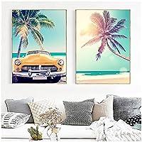 キャンバスポスター、シービーチココナッツツリーヒトデサーフボードウォールアートキャンバス絵画北欧のポスターとプリントフレームなし