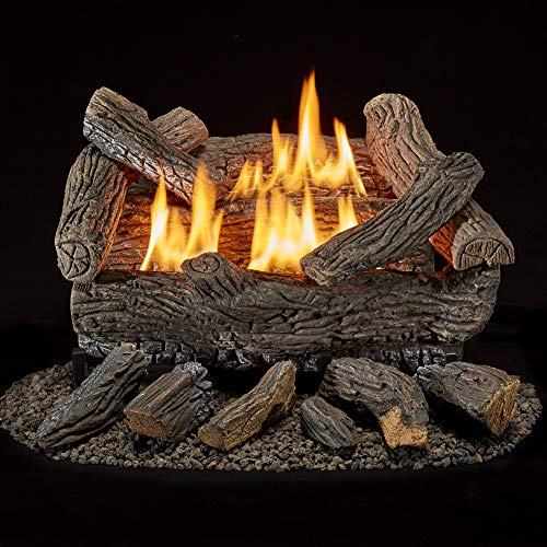 Bluegrass Living B18NR-UL1 Vent Free Natural Gas Log Set-18 Inch Traditional Oak, 30,000 BTU, Remote Control