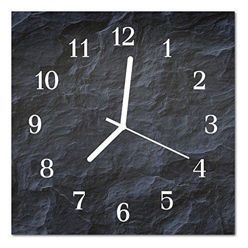 DekoGlas Glasuhr \'Hintergrund grau\' Uhr aus Echtglas, eckig große Motiv Wanduhr 30x30 cm, lautlos für Wohnzimmer & Küche