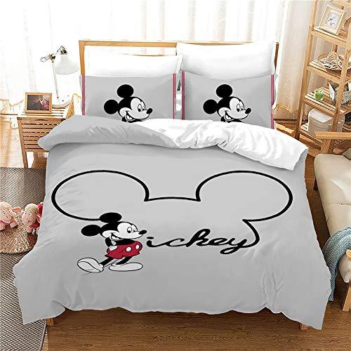 GDGM Minnie Maus,Mickey Mouse Bettwäsche Set 155x220 cm,Mädchenbettwäsche,Kinderbettwäsche,2 Kissenbezug+1 Bettbezug (A,155x220cm)