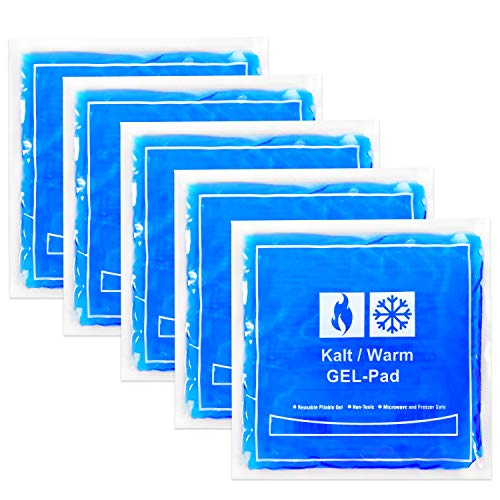 5 compresas de frío y calor | compresas de 15 x 15 cm | compresas de frío caliente para microondas, almohadillas de refrigeración para rodillas, cara, dientes de sabiduría para niños y adultos