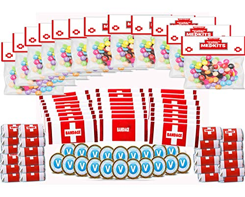 96 Pack Game Party Supplies Party Candy Decorations, 48 Pack Candy and Chocolate Bar Wrappers(2 Size), 12 Set of Candy Bags, 12 Pack Chocolate Coin Labels for Kids Game Party Favors