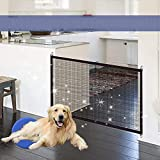 Pets Safety Guard,Retractable Dog Gates,Baby guard and fence - Portable Isolated Gauze Folding Gate,Keep Distance For Pets or Baby From Kitchen(Black,180 * 72cm)
