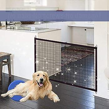 Garde de sécurité pour animaux de compagnie, portes de chien rétractables, garde de bébé et clôture-Portable Porte pliante en gaze isolée pour animaux de compagnie(Black,180 * 72cm)