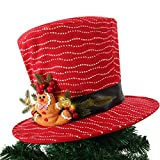 Christmas Tree Topper,Stripes Top Hat Ornament Tree Decoration for X'Mas/Holiday/Winter Wonderland Party Decoration Supplies