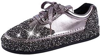 Zapatillas de Deporte de Moda de Las Mujeres Low Top Lace Up Pisos Zapatos de Plata Dorados Streetwear Rhinestone Shiny Zapatillas de Deporte Ocasionales Brillantes