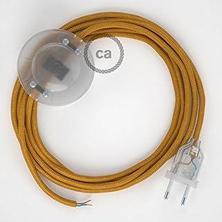 Cordon pour lampadaire, câble RM05 Effet Soie Doré 3 m. Choisissez la Couleur de la fiche et de l'interrupteur! - Transpare