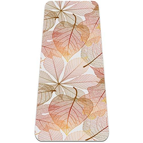 AMEILI Esterilla de yoga plegable de 6 mm de grosor antideslizante para viajes y yoga y fitness (72 x 24 x 6 mm) patrón de hojas