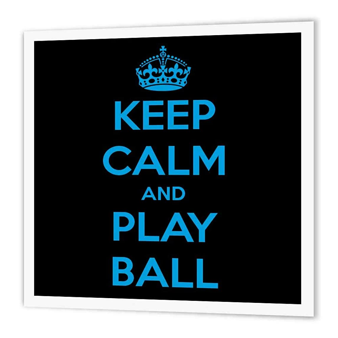 3dRose ht_171914_1 Keep Calm and Play Ball. Black and Blue-Iron on Heat Transfer Paper for White Material, 8 by 8-Inch